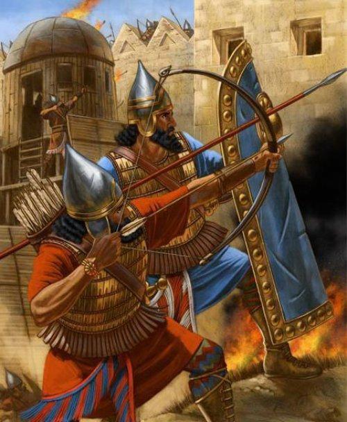 Soldados assírios atacam uma fortaleza inimiga