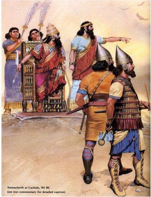 O rei Senaqueribe acompanha um cerco no século 8 a.C.