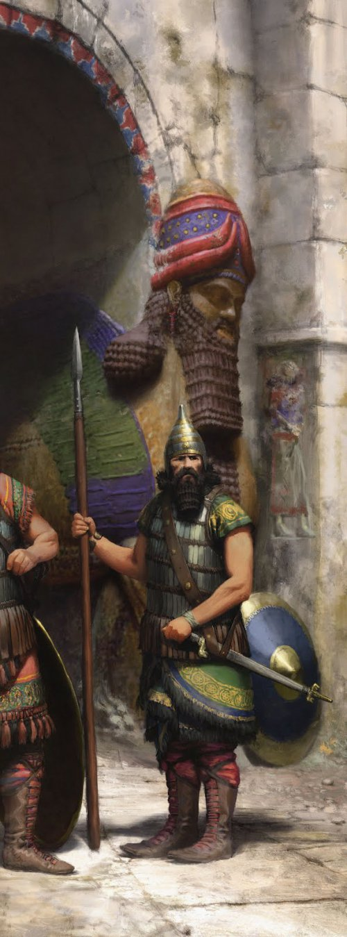Guarda assírio protegendo a entrada de um portal
