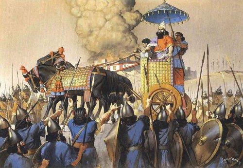 O rei Tiglath-Pileser III sendo saudado por suas tropas