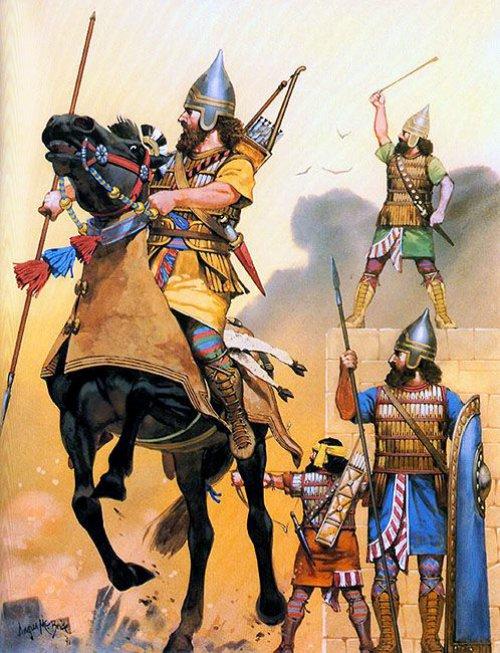 Cavalaria e Infantaria assíria. Século 7 a.C.