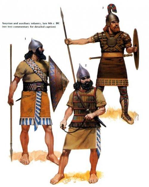 Soldados da infantaria Assíria, século 8 a.C.